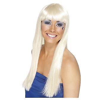 Womens Dancing Queen Wig White Fancy Dress Accessory