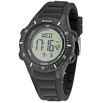 SINAR Youth Watch Wristwatch Digital Quartz Unisex Silicone Strap XR-12-1 Noir