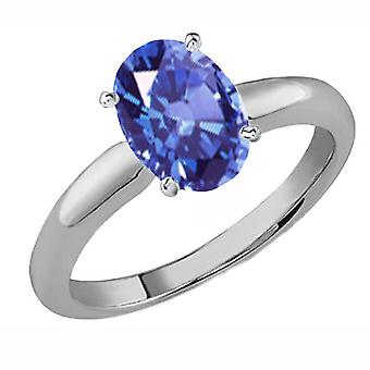 Dazzlingrock Collection 14K 9x7 MM Oval Cut Tanzanite Ladies Solitaire Bridal Engagement Ring, White Gold