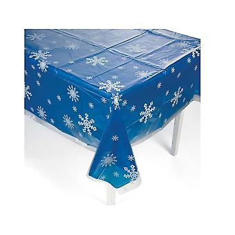 Clear Snowflake Print Plastic Christmas Tablecloth - 1.3x2.7m