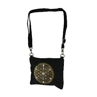 Black Canvas Flower of Life Sacred Geometry 7 Stone Rose Quartz Crossbody Bag