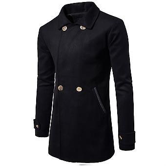 Allthemen menn ' s dobbel-breasted jakkeslaget solid høst frakk