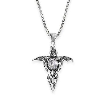 "Folklore Inspired Winged Serpent Necklace Pendant - Crystal Stone - Includes A 20/22"" Stainless Steel Chain"