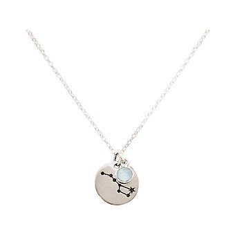 Constellation halssmykke stor bjørn, vogn 925 sølv, gullbelagt, Rose chalcedony