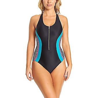 Zoggs hoogtepunt vrouwen ' s zip front ééndelig badpak in zwart/blauw
