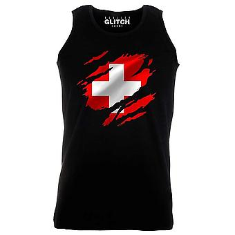 Reality glitch torn switzerland flag mens vest