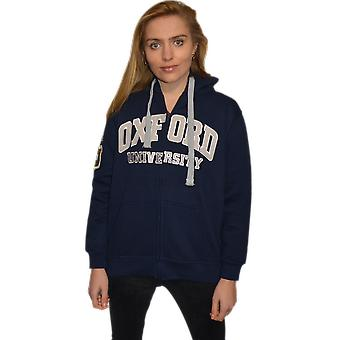 Ou129 licensed zipped unisex oxford university™ hooded sweatshirt navy