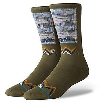 Stance Stance Peak Crew Socks in Army