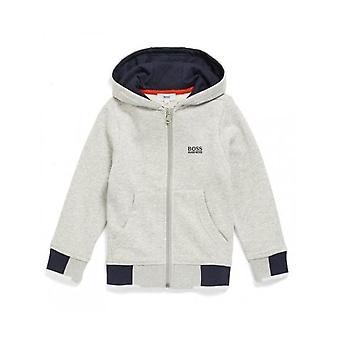Hugo Boss Boys Hugo Boss Boy's Grey  Zip Through Hooded Jacket