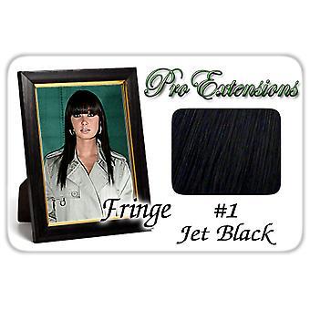 #1 Jet musta Pro Fringe Clip otsa tukka