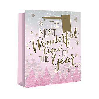 Eurowrap Champagne Christmas Gift Bags with Wonderful Pink Design (Pack of 12)
