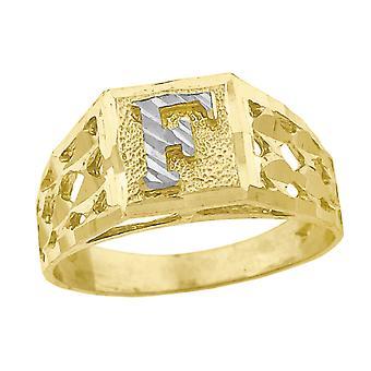 10k Two tone Gold baby voor jongens of meisjesLetter Naam Gepersonaliseerde Monogram Initial F Band Ring Measures 6.6x3.50mm Wide S