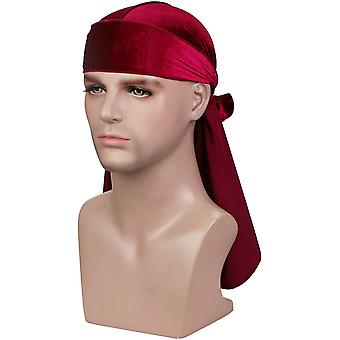 Premium Velvet Wave Durag - Silky Durag Headwraps with, Wine Red, Size Free size