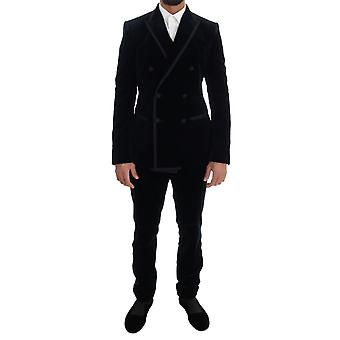 Dolce & Gabbana Blue Velvet Double Breasted Slim Suit