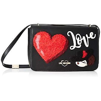 Love Moschino Pu Black Woman Strap Bag (Noir) 18x6x29 cm (W x H x L)