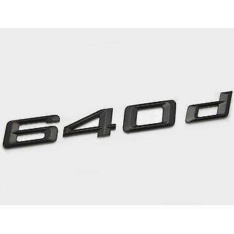 Matt Black BMW 640d Car Badge Emblem Model Numbers Letters For 6 Series E63. E64 F06 F12 F13 G32