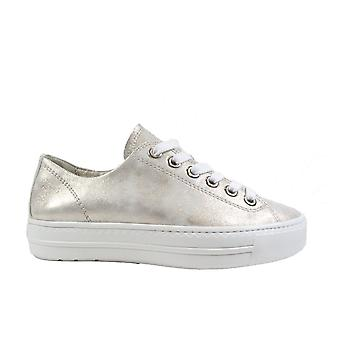 Paul Green 4704-23 Metallic Nubuck Leather Womens Lace Up Casual Trainers
