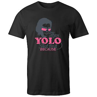 Boys Crew Neck Tee Short Sleeve Men's T Shirt- YOLO Shot First