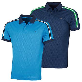 Callaway Golf Mens 2020 Tee Print With Shoulder Taping Golf Polo Shirt