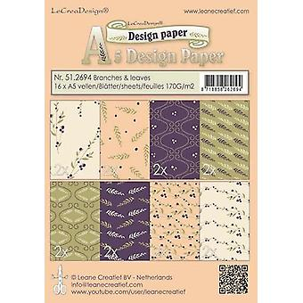 LeCrea - Design paper assortment Branch&Leaves purpl/green/oc 51.2694  16x A5