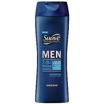 Suave men 2-in-1 shampoo + conditioner, ocean charge, 12.6 oz
