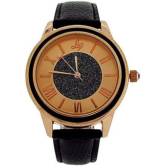 Lipsy Womens Roman Numerals Rose Goldtone Dial Black Strap Watch LP270