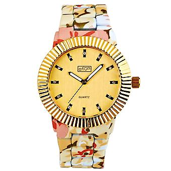Eton Womens Fashion Watch, Cream Floral Pattern, Gold Bezel 3179J-GD