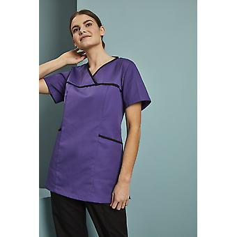 SIMON JERSEY Women's Pull On Scrub Top With Coloured Trim, Purple