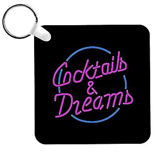 Cocktail Cocktails And Dreams Neon Sign Keyring