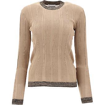 Ganni K1298185 Women's Beige Cotton Sweater