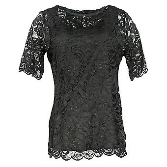 Isaac Mizrahi Live! Women's Top Stretch Lace Mock Neck Black A344417