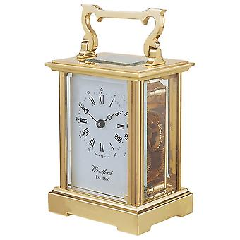 Woodford Anglaise 8 Day Movement Brass Carriage Clock - Gold