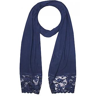 A Postcard from Brighton Navy Lace Edged Scarf