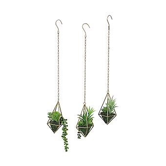 3 Piece Geometric Frame Hanging Artificial Mini Succulent Plant Set