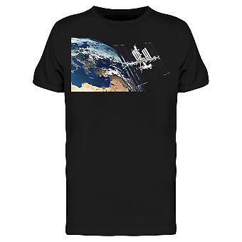 A Space Station Orbiting Earth Tee Men's -Image by Shutterstock