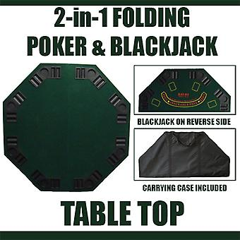 """48"""" Green Octagon Folding Poker and Blackjack Table Top"""