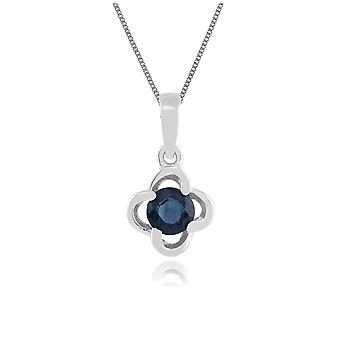 Floral Round Sapphire & Diamond Halo Pendant Necklace in 9ct White Gold 162P0095019