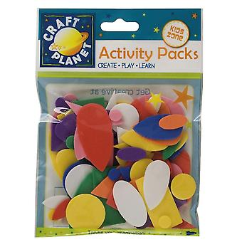 75 Mixed Colour Basic Foam Shapes for Kids Crafts