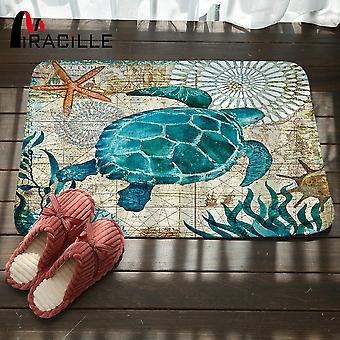 Marine Style Door Mat Floor Carpet For Living Room - Coral Fleece Rug Anti Slip Doormat
