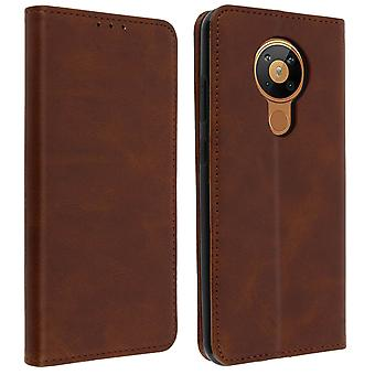 Nokia 5.3 Soft touch case with stand function and wallet - Brown