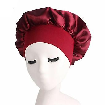 Long Hair Care Women Satin Bonnet Cap Night Sleep Hat Silk Head Wrap Adjust