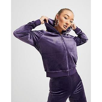 New Fila Women's Velour Full Zip Hoodie Purple