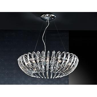 Schuller Ariadna - Lamp of 12 lights made of metal, chrome finish. Glass shade formed by high quality curved clear crystal bars. Adjustable in height by steel tensors. - 876113