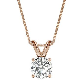 14K Rose Gold Moissanite by Charles & Colvard 6.5mm Round Pendant Necklace, 1.00ct DEW