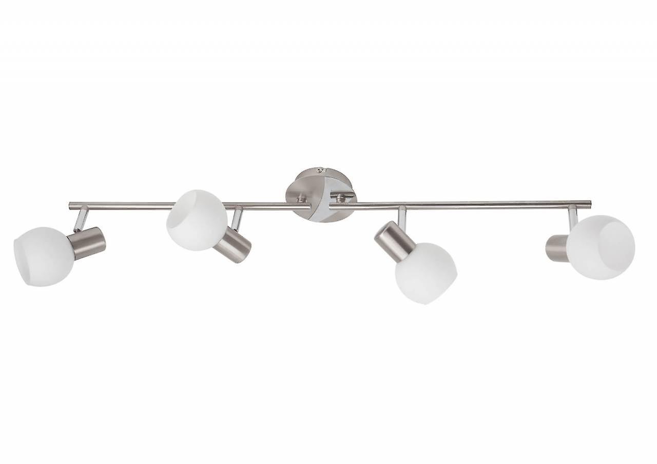 BRILLIANT Lampe Tiara Spotrohr 4flg eisen/weiß | 4x D45, E14, 40W, geeignet für Tropfenlampen (nicht enthalten) | Skala A++ bis E | Arme drehbar / Köpfe schwenkbar