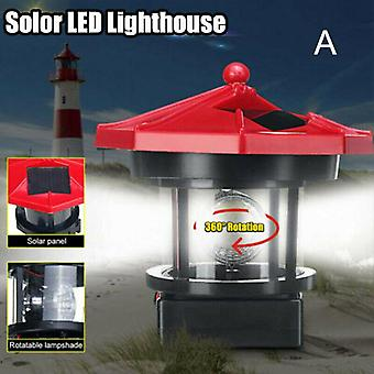 Lighthouse Statue Shape Led Solar Rotating Automatically Powered Lamp For Garden Yard Decoration