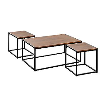 Industrial Coffee Table & Side Tables - Dark Wood / Steel Frame - Set of 3
