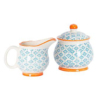 Nicola Spring 2 Piece Hand-Printed Milk Jug and Sugar Bowl Set - Japanese Style Porcelain Kitchen Storage Pots - Blue