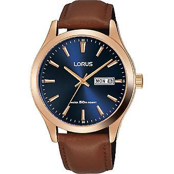 Lorus Męskie Niebieskie Tarcze & Brązowy Skórzany pasek Zegarek (Nr modelu RXN56DX9)