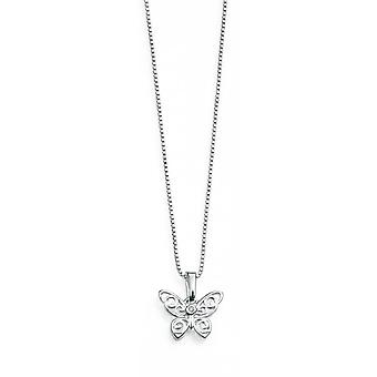 D for Diamond Silver Openwork Butterfly Pendant